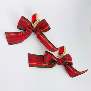 New!Red Checkered Bow Knot Crystal Dangle Earrings